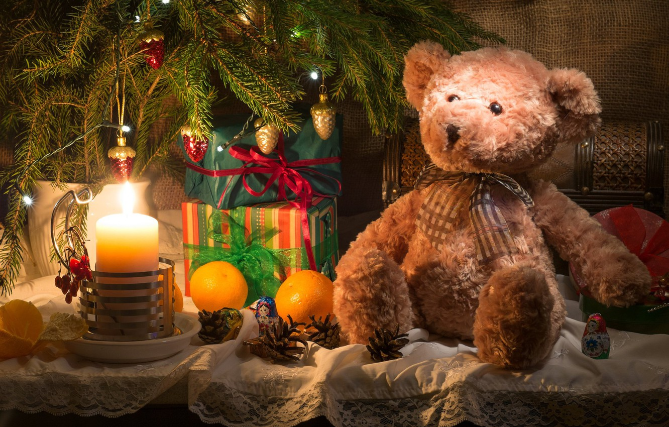 Photo wallpaper toys, new year, candle, spruce, oranges, branch, bear, gifts, fabric, tree, fruit, bumps, burlap, box
