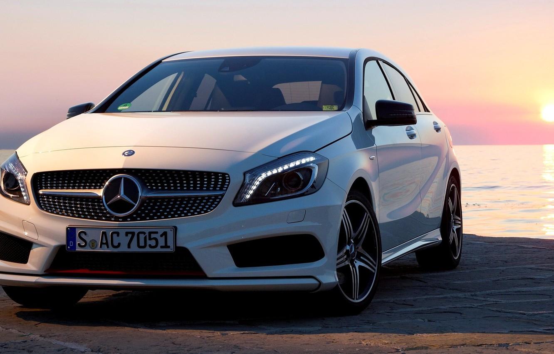 Photo wallpaper Sunset, White, Machine, Mercedes, Mercedes, Car, 2012, Car, AMG, White, Package, Wallpapers, New, Beautiful, Sport, …