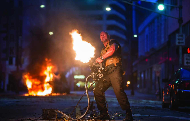 Photo wallpaper street, machine gun, Dwayne Johnson, Dwayne Johnson, Fast & Furious 7, Fast and furious 7