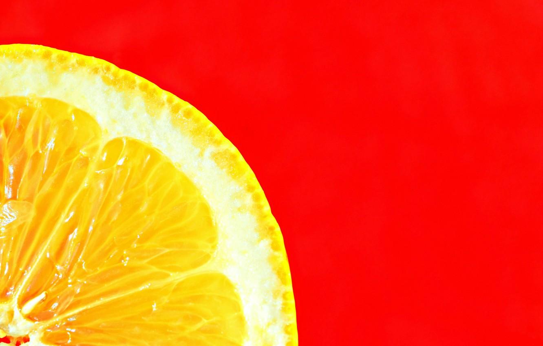 Photo wallpaper macro, lemon, minimalism, slice, red background