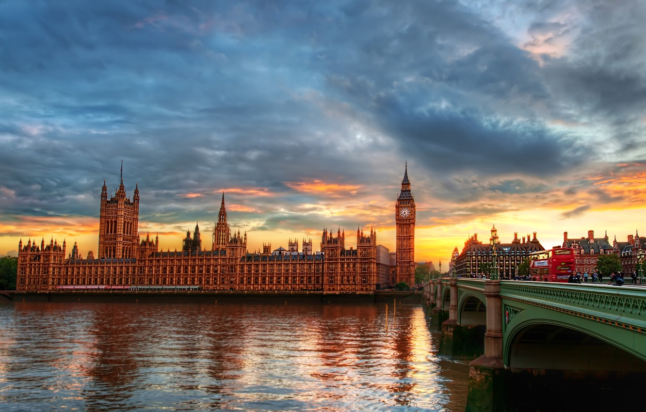 Photo wallpaper the city, river, London, Thames, clock tower, The Palace of Westminster