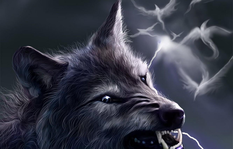 Photo wallpaper birds, fantasy, lightning, wolf, grin, werewolf