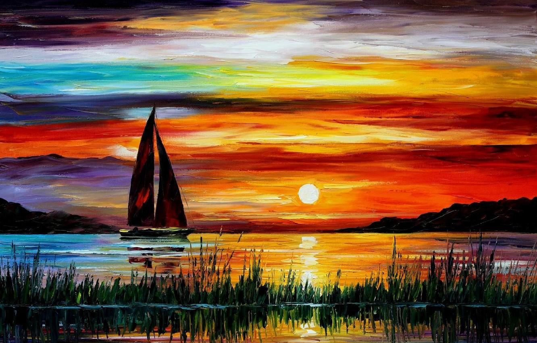 Photo wallpaper sea, sunset, boat, picture, florida, leonid afremov