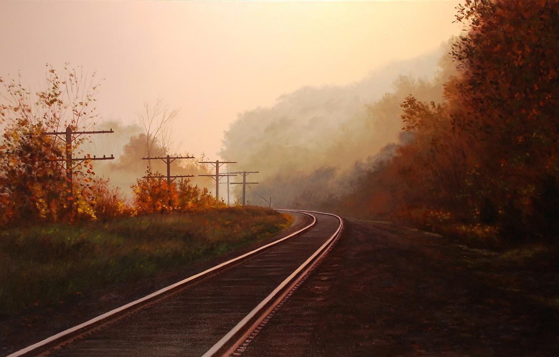 Photo wallpaper autumn, forest, trees, landscape, fog, posts, rails, picture, art, railroad, Brian Slawson