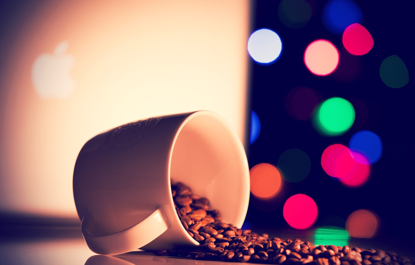 Photo wallpaper white, orange, blue, pink, coffee, lights, mug, green, grain, macbook