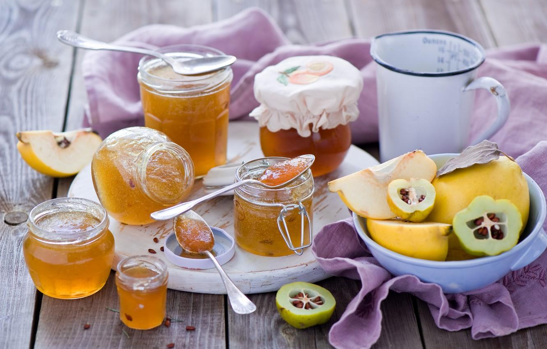 Photo wallpaper jars, dishes, banks, fruit, jam, jam, quince, spoon, Anna Verdina