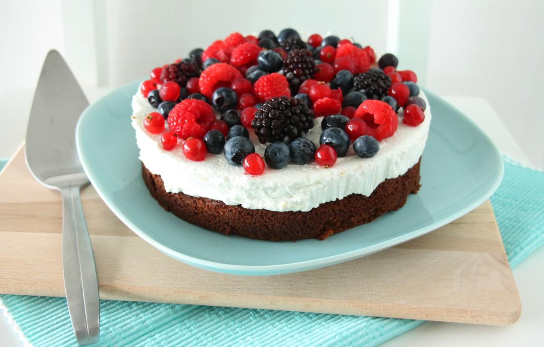Photo wallpaper raspberry, food, blueberries, cake, cake, fruit, cake, cream, dessert, food, sweet, fruits, cream, dessert, raspberry, …