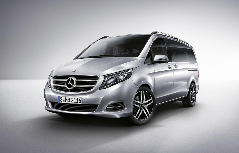 Photo wallpaper Mercedes, Benz, Silver, 2014, Silver, Van, Minivan, V-Class