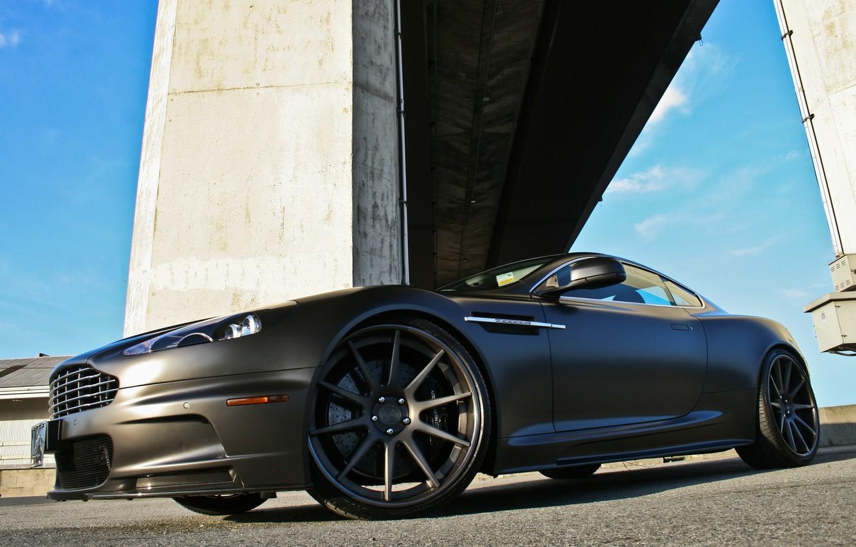 Photo wallpaper black, Aston Martin, DBS, Matt, front view, columns, Aston Martin, matte black, DBM
