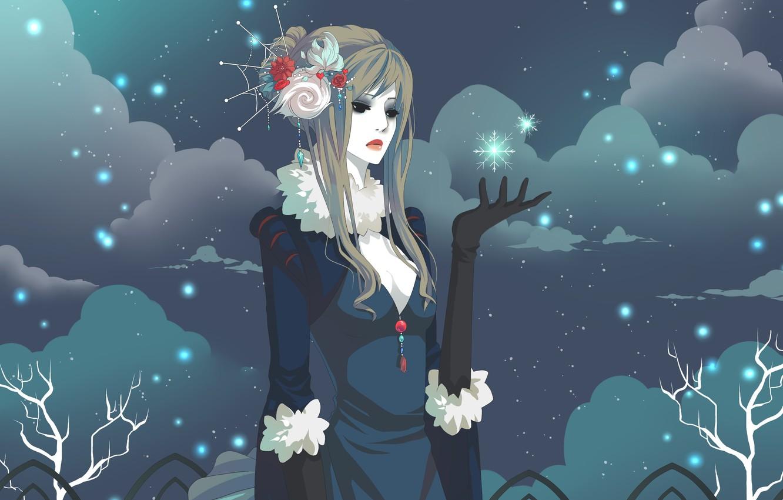 Photo wallpaper winter, girl, snowflakes, clouds, sadness, figure, art, gasara
