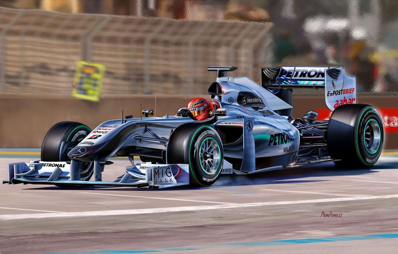 Photo wallpaper figure, team, race, pilot, the car, Mercedes-benz, Michael Schumacher, Formula 1, Michael Schumacher, Formula One …