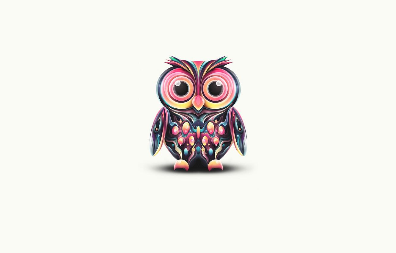 Photo wallpaper color, owl, paint, minimalism