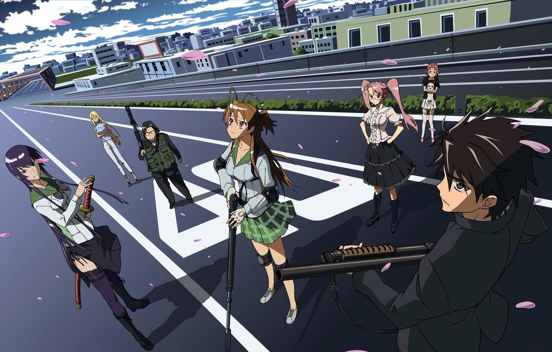 Photo wallpaper Shizuka Marikawa, Takashi Komuro, Saeco Busujima, Ray Miyamoto, Saya Takagi, High School Of The Dead, …