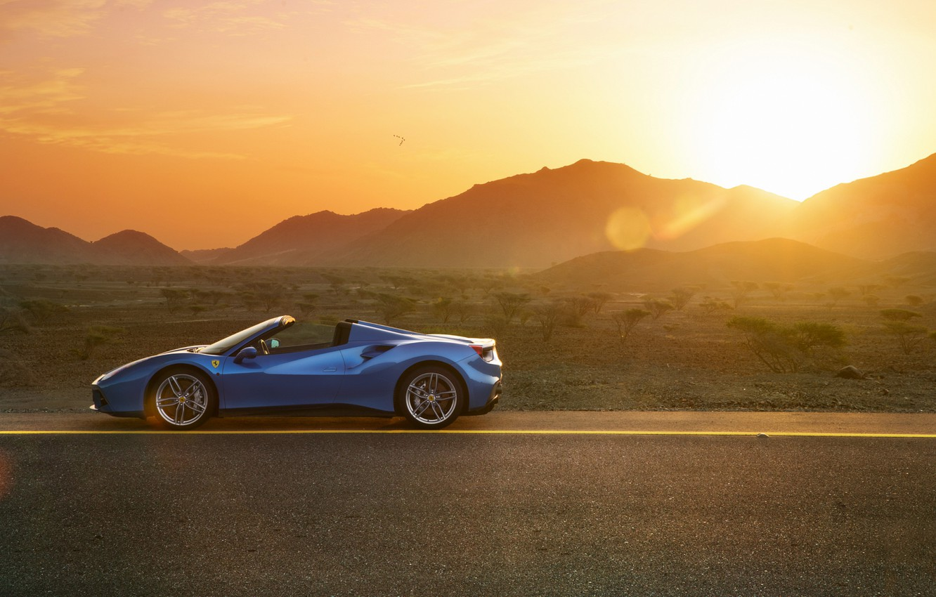 Photo wallpaper Ferrari, Blue, Side, Spider, Supercar, 488