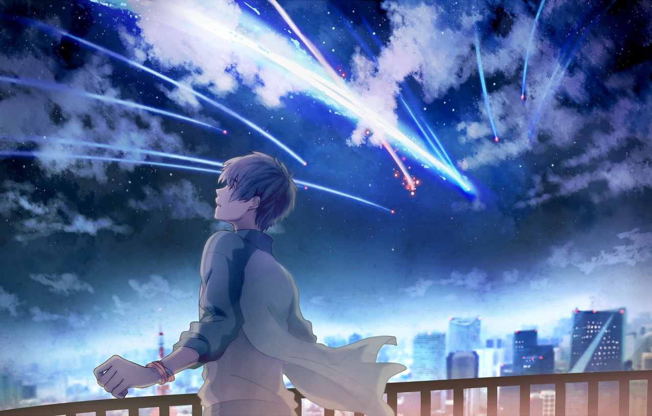 Wallpaper The Sky Stars Clouds Night The City Home Anime