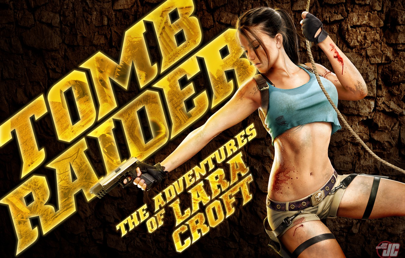 Photo wallpaper gun, weapons, blood, rope, adventure, lara, tombs, the raider, Croft, croft, Lara, raider, tomb, adventures