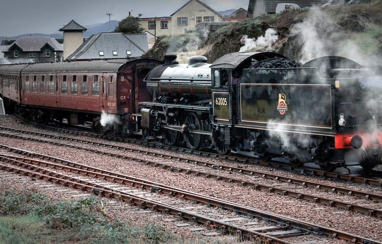 Photo wallpaper road, people, arrows, rails, the engine, station, iron, coal, sleepers, platform, crushed stone, tender, passenger …