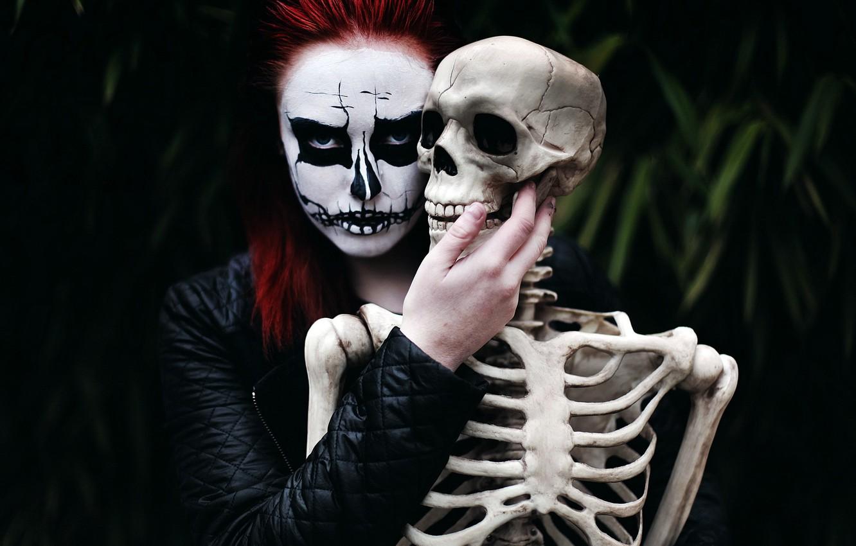 Photo wallpaper girl, death, mood, skeleton