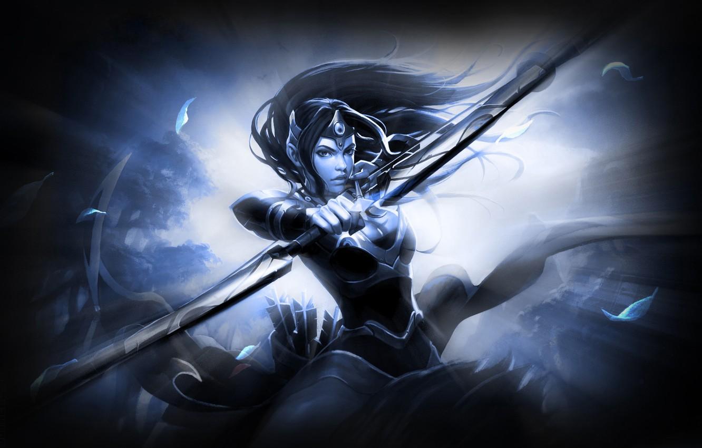 Wallpaper Leaves Girl Light Armor Shot Bow Dota Defense Of