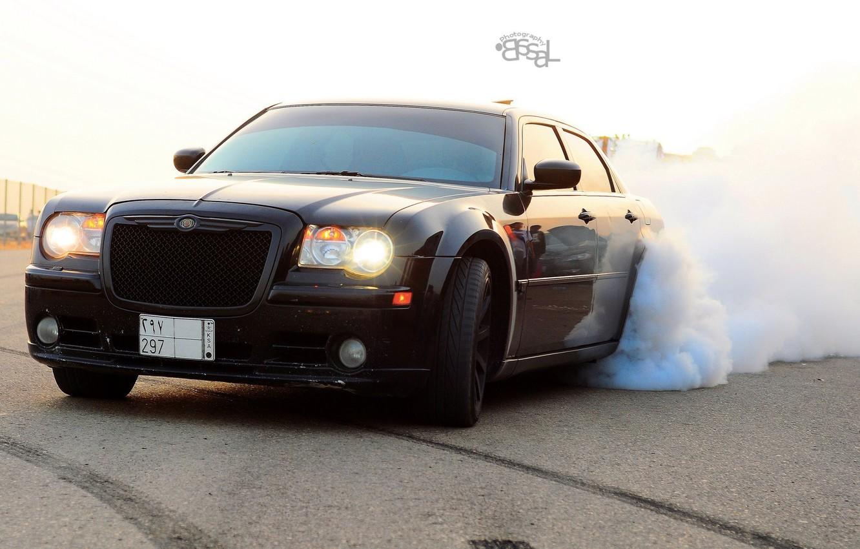 Photo wallpaper machine, auto, smoke, Chrysler, black, drift, Chrysler 300