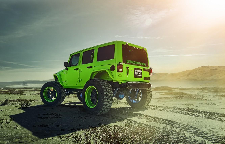 Photo wallpaper Green, Forged, Custom, Wrangler, Jeep, Wheels, Track, ADV1, Rear, Function