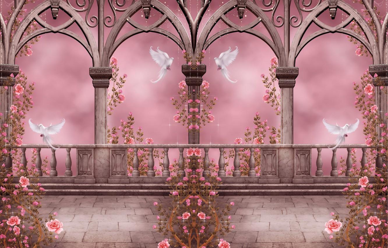 Photo wallpaper flowers, roses, pigeons, columns, arch, garland, flowers, roses, doves, columns, arches, pigeons, rose garden, Rose …