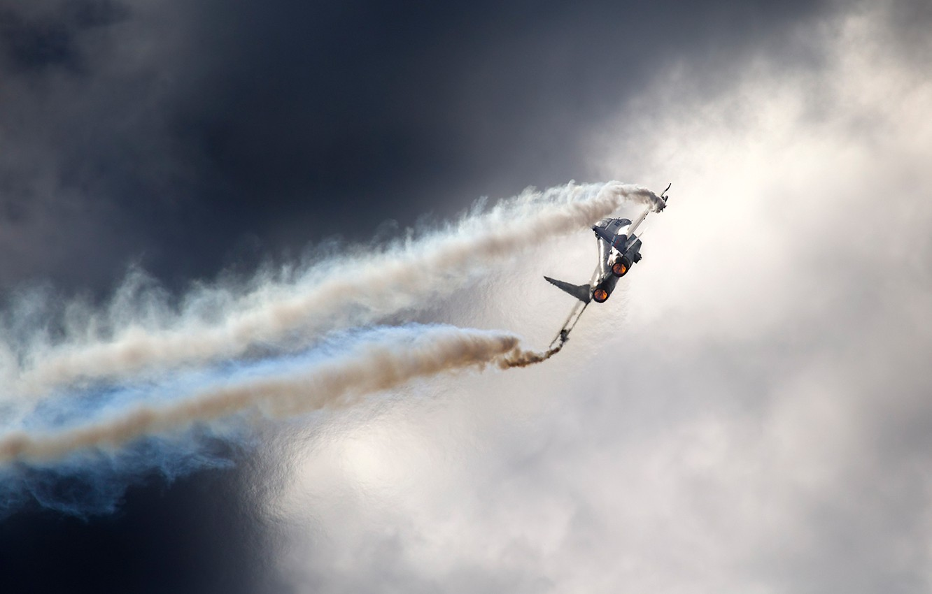 Photo wallpaper the sky, clouds, Russia, MiG 29