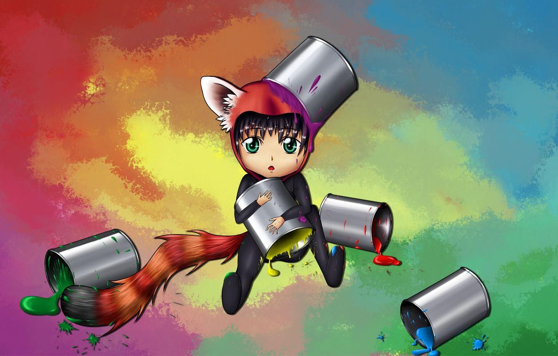 Photo wallpaper paint, anime, neko