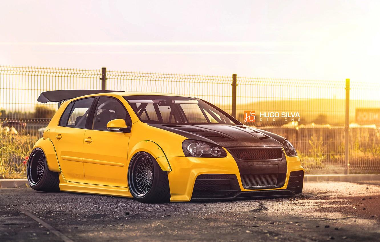 Photo wallpaper Volkswagen, yellow, Golf, mk5, Hugo Silva