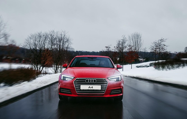 Photo wallpaper winter, road, snow, Audi, Audi, red