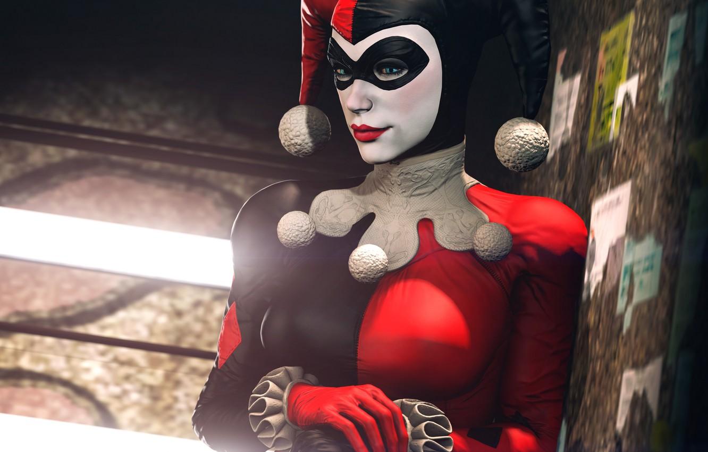 Photo wallpaper girl, mask, costume, villain, Batman, classic, harley quinn