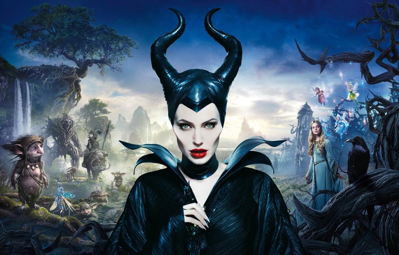 Wallpaper Angelina Jolie Movie Maleficent Elle Fanning