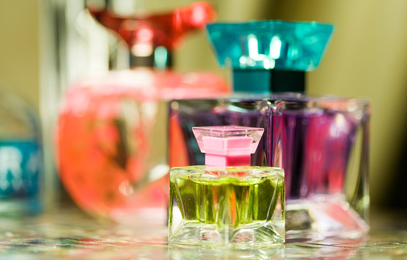 Photo wallpaper colored, perfume, blur, perfume, bottles