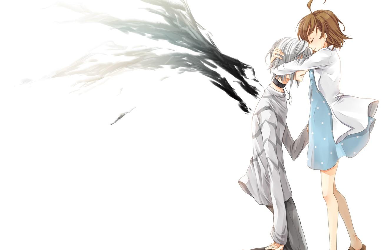 Photo wallpaper girl, wings, anime, art, hugs, guy, misaka mikoto, index of magic, to aru majutsu no …