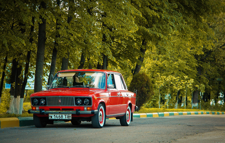Photo wallpaper road, trees, USSR, red, classic, Lada, vaz, VAZ, lada, Lada, 2103