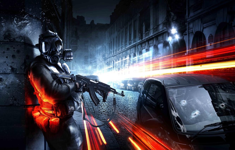 Photo wallpaper machine, the city, soldiers, machine, Battlefield 3, russian