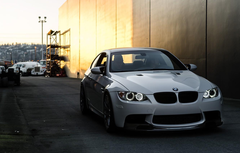 Photo wallpaper white, the sky, reflection, bmw, BMW, lights, white, lane, front view, e92