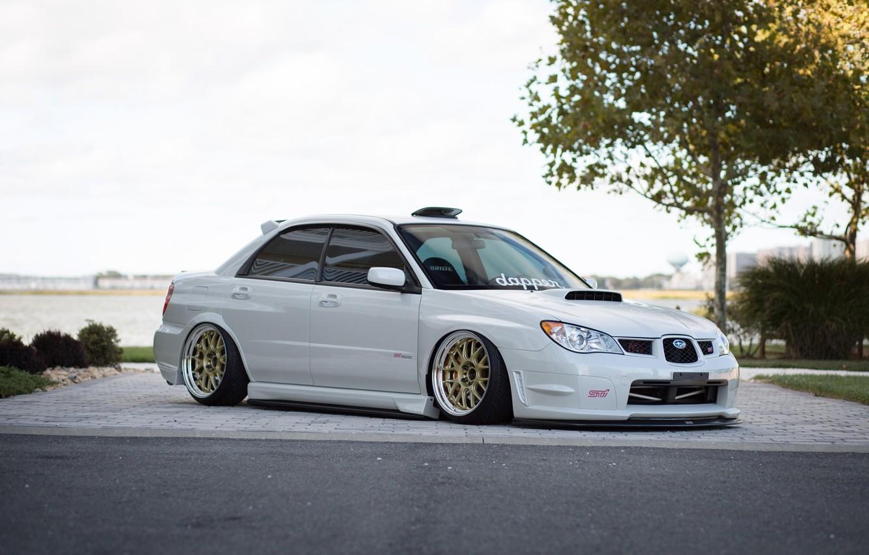 Photo wallpaper Subaru, Impreza, White, STI, Before, White, Subaru, Impreza, JDM