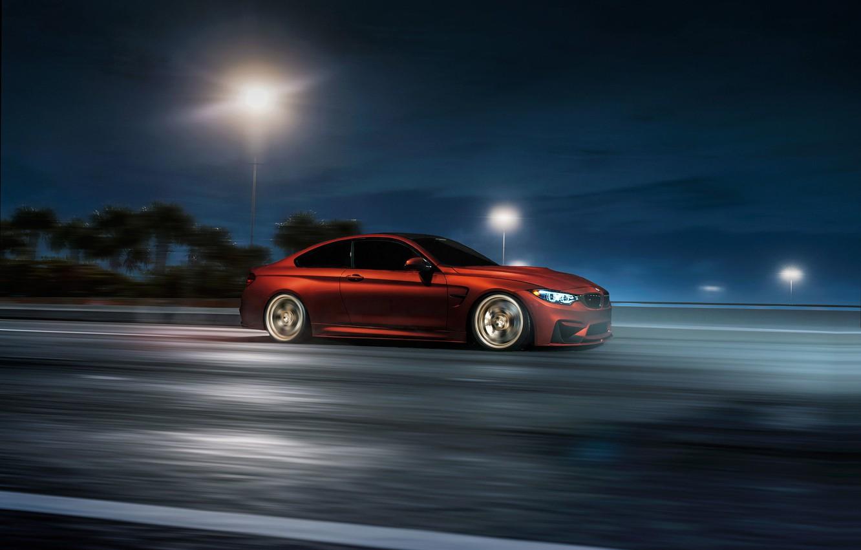 Photo wallpaper BMW, Orange, Car, Speed, Sport, Wheels, F82, VELOS