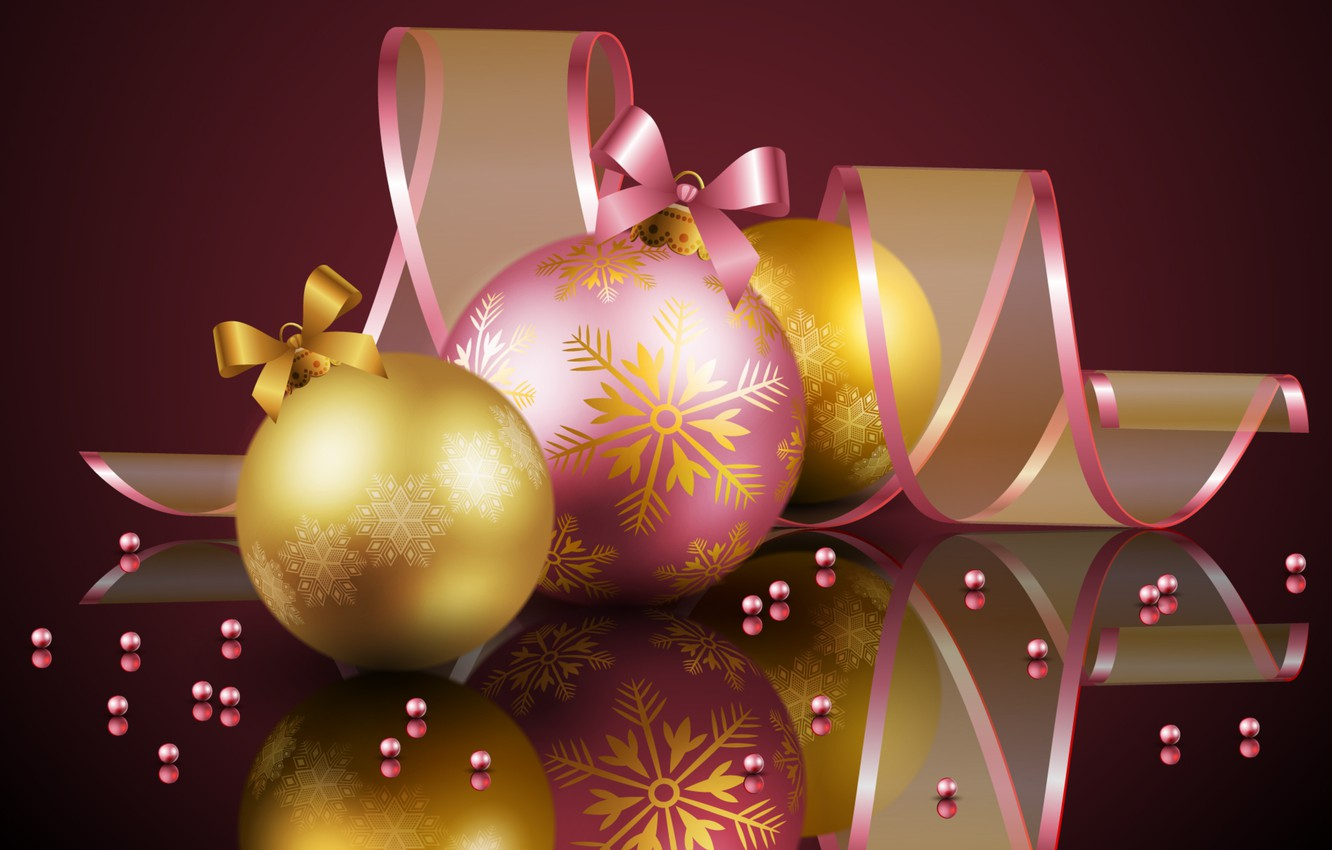 Photo wallpaper cold, color, balls, sweetheart, pink, ball, Christmas, beauty, colors, golden, Happy New Year, Christmas, Golden, …