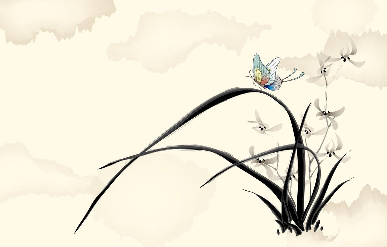 Photo wallpaper flowers, butterfly, figure