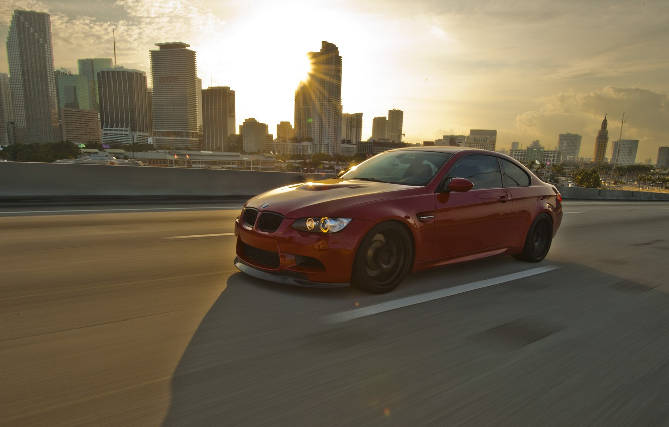 Photo wallpaper road, red, markup, bmw, BMW, red, Blik, side view, road, speed, e92, daylight