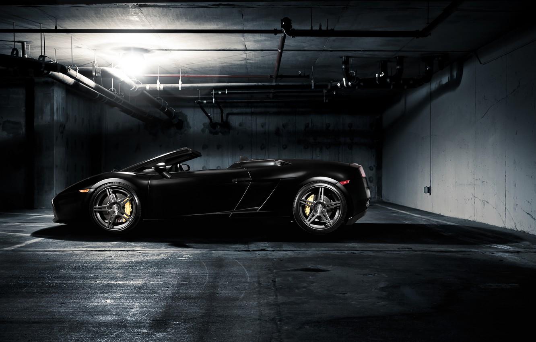 Photo wallpaper light, pipe, black, lamp, Lamborghini, Parking, Gallardo, black, Blik, Lamborghini, Gallardo