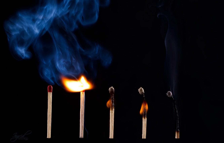 Photo wallpaper macro, fire, smoke, matches
