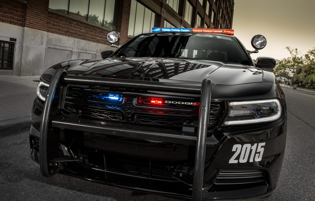 Photo wallpaper Dodge, bumper, Charger, police, Pursuit, flashers, 2015
