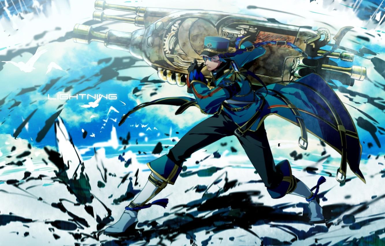 Photo wallpaper birds, weapons, anime, art, guy, cap, military, gloria, otani
