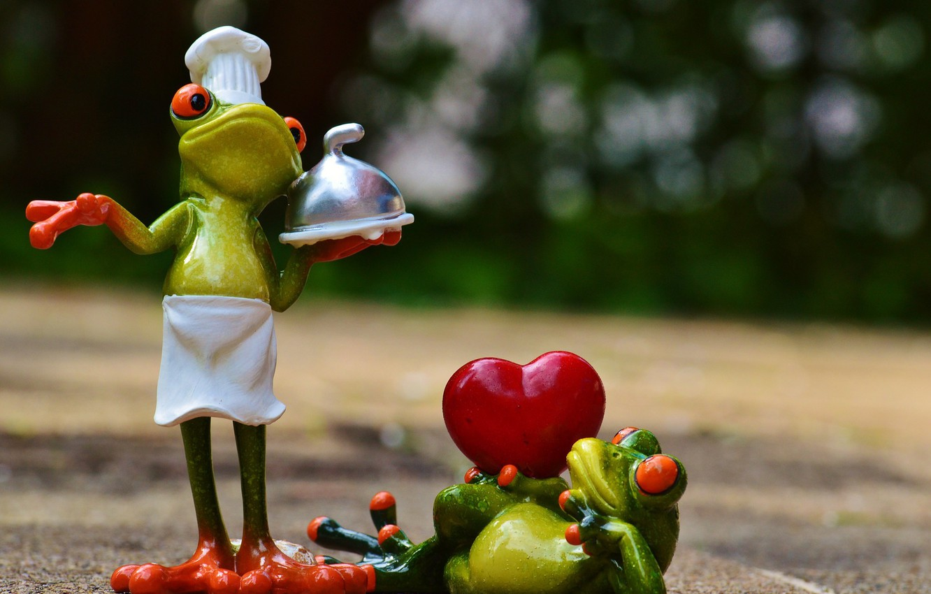 Photo wallpaper heart, toys, frog, frogs, cook, figures, frog
