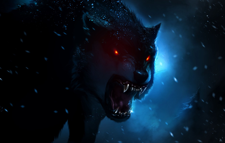 Photo wallpaper night, darkness, wolf, art, evil, hunter