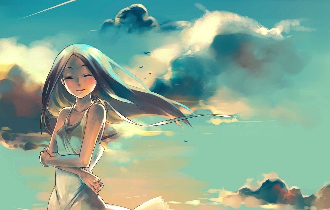 Photo wallpaper the sky, dream, girl, clouds, sunset, the wind, anime, present, shooting star
