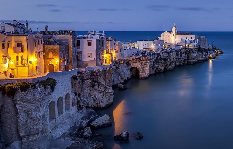 Photo wallpaper sea, rocks, building, Italy, Italy, Apulia, The Adriatic sea, Adriatic Sea, Vieste, Vieste, Apulia